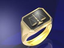 Justitia, el anillo del símbol de la justicia Fotos de archivo libres de regalías