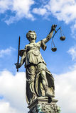 Justitia (Justice夫人)雕塑 免版税图库摄影