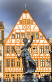 Justitia - Lady Justice - sculpture on the Roemerberg square in Stock Images