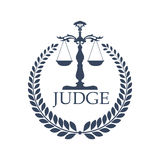 Justitia weigher or scales and laurel wreath Royalty Free Stock Photos