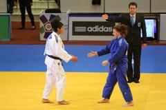 Justo-juego del judo Fotos de archivo libres de regalías