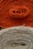 Jute. Close-up of two bales of jute in orange and white Stock Photos