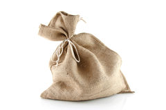 Jute bag. Full jute bag isolated on white background stock image