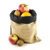Jute bag with fruits Stock Photography