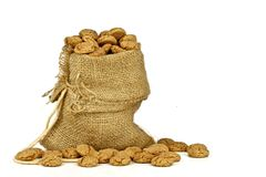 Jute bag full of gingerbread nuts Stock Image