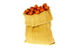 Jute bag full of nuts Stock Photo