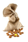 Jute bag with ginger nuts Stock Photos
