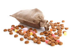 Jute bag with ginger nuts Stock Images