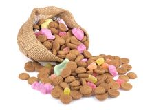 Jute bag with ginger nuts and sweets. Royalty Free Stock Photography