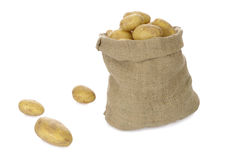Jute bag with potatoes Royalty Free Stock Images