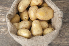Jute bag with potatoes Royalty Free Stock Photos