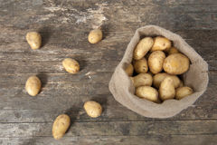Jute bag with potatoes Royalty Free Stock Photography