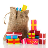 Jute bag with presents Stock Photos