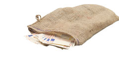Jute bag spilling fifty euro bills Royalty Free Stock Photography