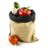 Jute bag with vegetables Royalty Free Stock Image