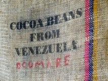 Jute bag for Venezuela cocoa beans, detail Stock Images