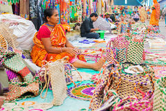 Jute Bag weaving, handicraft items on display , Kolkata Royalty Free Stock Photography