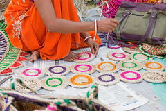 Jute coaster weaving, handicraft items on display , Kolkata Royalty Free Stock Images