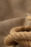 Jute cordage. Closeup of a jute rope with space for text Stock Photo