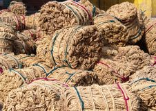 Jute is a long, soft, shiny vegetable fiber that can be spun into coarse, strong threads stock photos