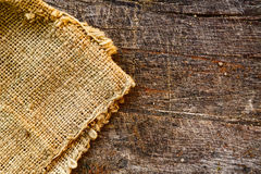 Jute and old wood. Burlap jute canvas texture and old wood texture as background stock photography