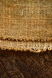 Jute and old wood Royalty Free Stock Photos