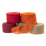 Jute ribbon rolls Stock Images