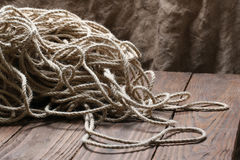 Jute rope tangled close-up Stock Images