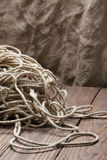 Jute rope tangled close-up o Stock Image