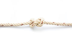 Jute ropes with knot isolated Royalty Free Stock Photo