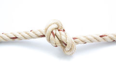 Jute ropes with knot isolated Royalty Free Stock Photos