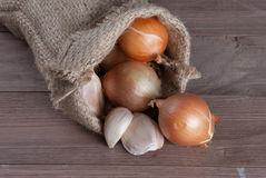 Jute sack with  onions and garlik Stock Images