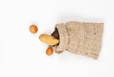 Jute sack with seeds top view Royalty Free Stock Photos