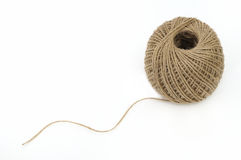 Jute twine. Skein of jute twine on the white background royalty free stock images