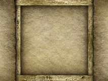 Jute and wood background Stock Photo