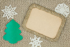 Jute yarn knitted fabric. Snowflakes, Christmas Tree Stock Images