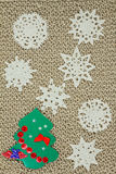 Jute yarn knitted fabric. Snowflakes, Christmas Tree. Royalty Free Stock Photos