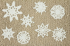 Jute yarn knitted fabric. Snowflakes, Christmas Tree. Stock Photography