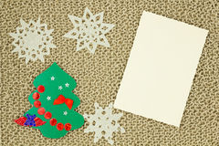 Jute yarn knitted fabric. Snowflakes, Christmas Tree. Stock Photos