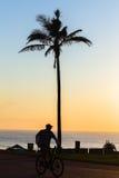 Jutrzenkowy cyklista Zamazujący Plażowy ocean Obraz Stock
