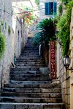 Old Stone Steep Stairwell Side Street royalty free stock image