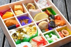 Juu Roku Aya Bento Ekiben Sixteen Colors. Juu Roku Aya Bento Ekiben sold at Hakata Station. This Ekiben, or train journey meal box, features 16 types of Japanese stock images