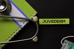 Juvederm on top view black table and Healthcare/medical concept royalty free stock photos