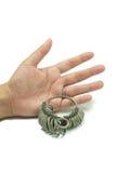 Juvelerarefinger som storleksanpassar hjälpmedel. Ring Gauge isolerade arkivfoton