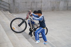 The juvenile and bicycle Stock Photo