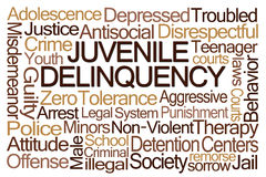 Juvenile Delinquency Word Cloud. On White Background Royalty Free Stock Images