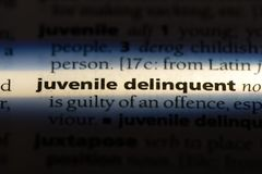 Juvenile delinquent. Word in a dictionary.  concept royalty free stock photography