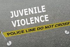 Juvenile Violence concept. Render illustration of JUVENILE VIOLENCE title on the ground in a police arena. Police concept Stock Images