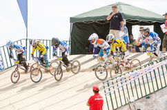 Juveniles start. CASTELO BRANCO, PORTUGAL - MAY 5: Juveniles start at the 3rd stage of the Luso-Spanish BMX race Trophy the  on may 5, 2013 in Castelo Branco Royalty Free Stock Photos