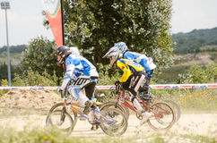 Juveniles start. CASTELO BRANCO, PORTUGAL - MAY 5: Juveniles start at the 3rd stage of the Luso-Spanish BMX race Trophy the  on may 5, 2013 in Castelo Branco Royalty Free Stock Photography